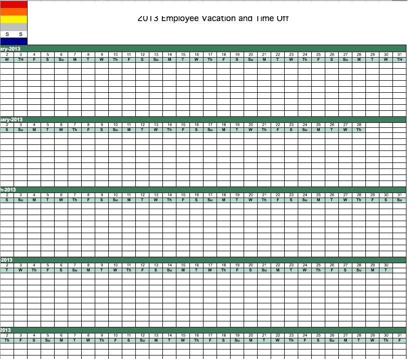Excel Time Off Calendar Graphics | Calendar Template 2020