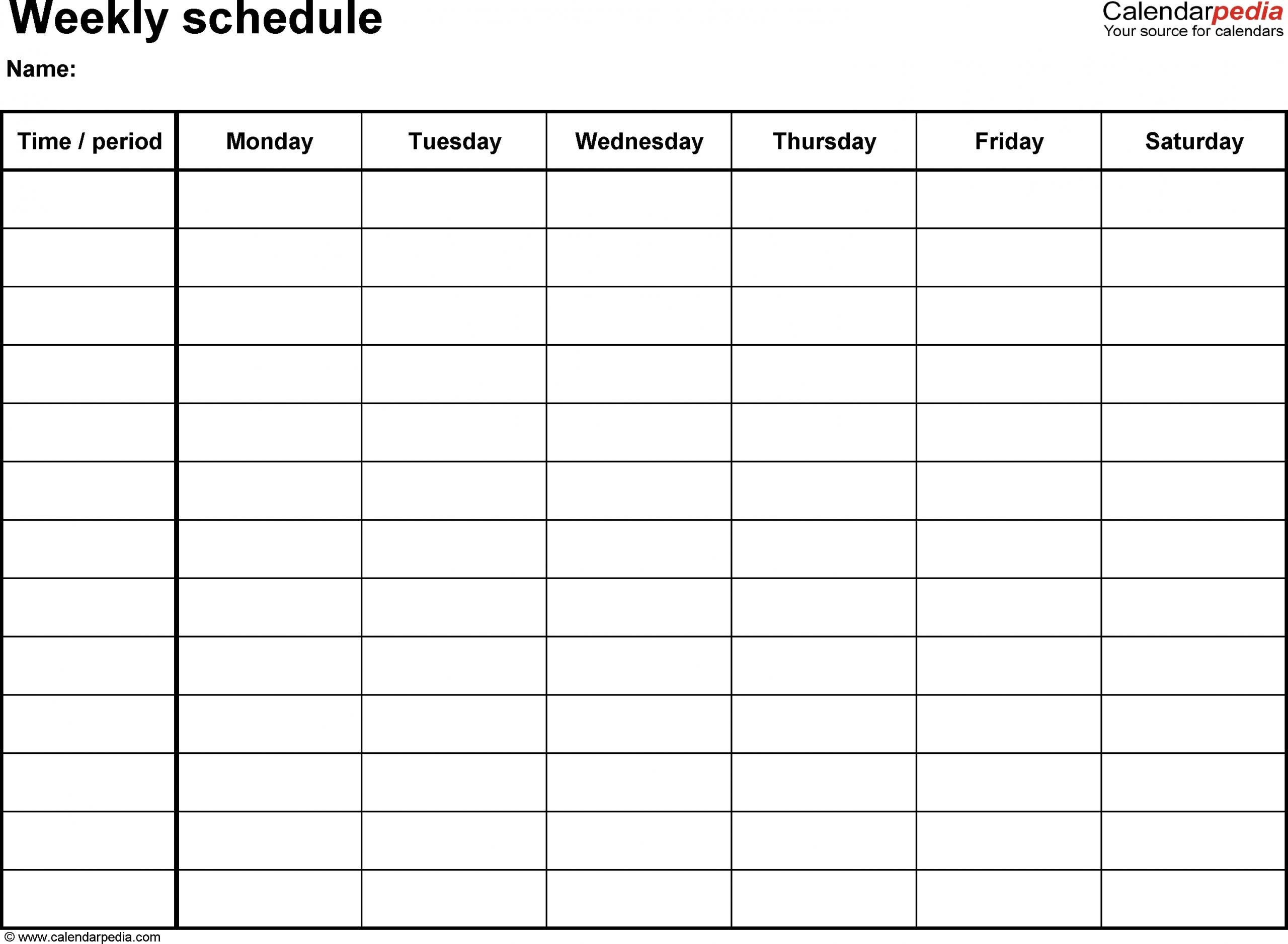 Extra Large Printable Blank Weekly Employee Schedule - Calendar Inspiration Design