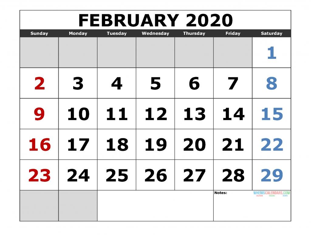 February 2020 Printable Calendar Template Excel, Pdf, Image [Us. Edition] - Free Printable 2021