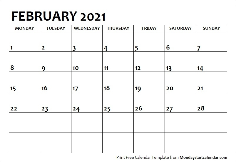 February 2021 Calendar Monday Start Archives - Monday Start Calendar