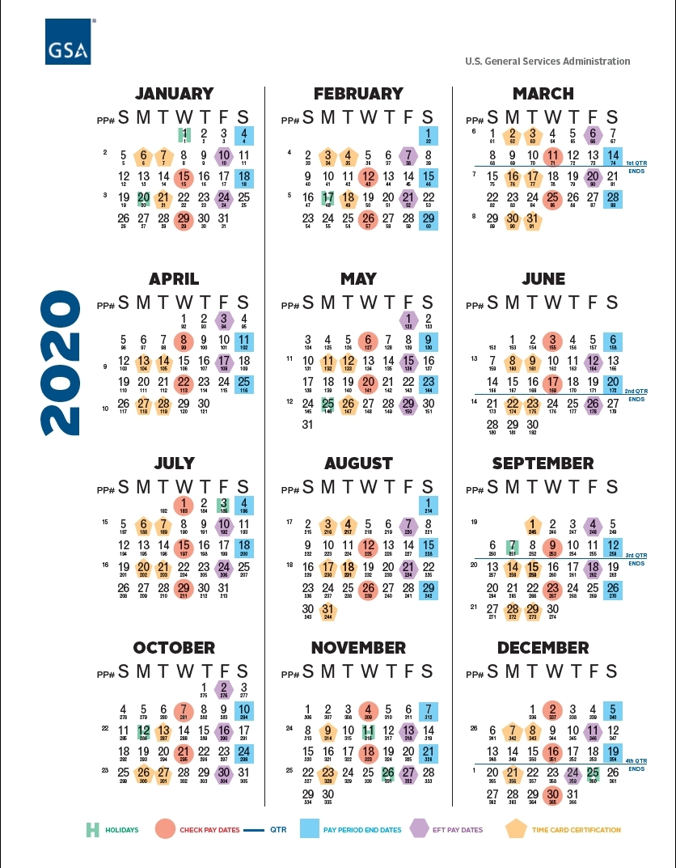 Federal Payroll Calendar 2020 - Template Calendar Design