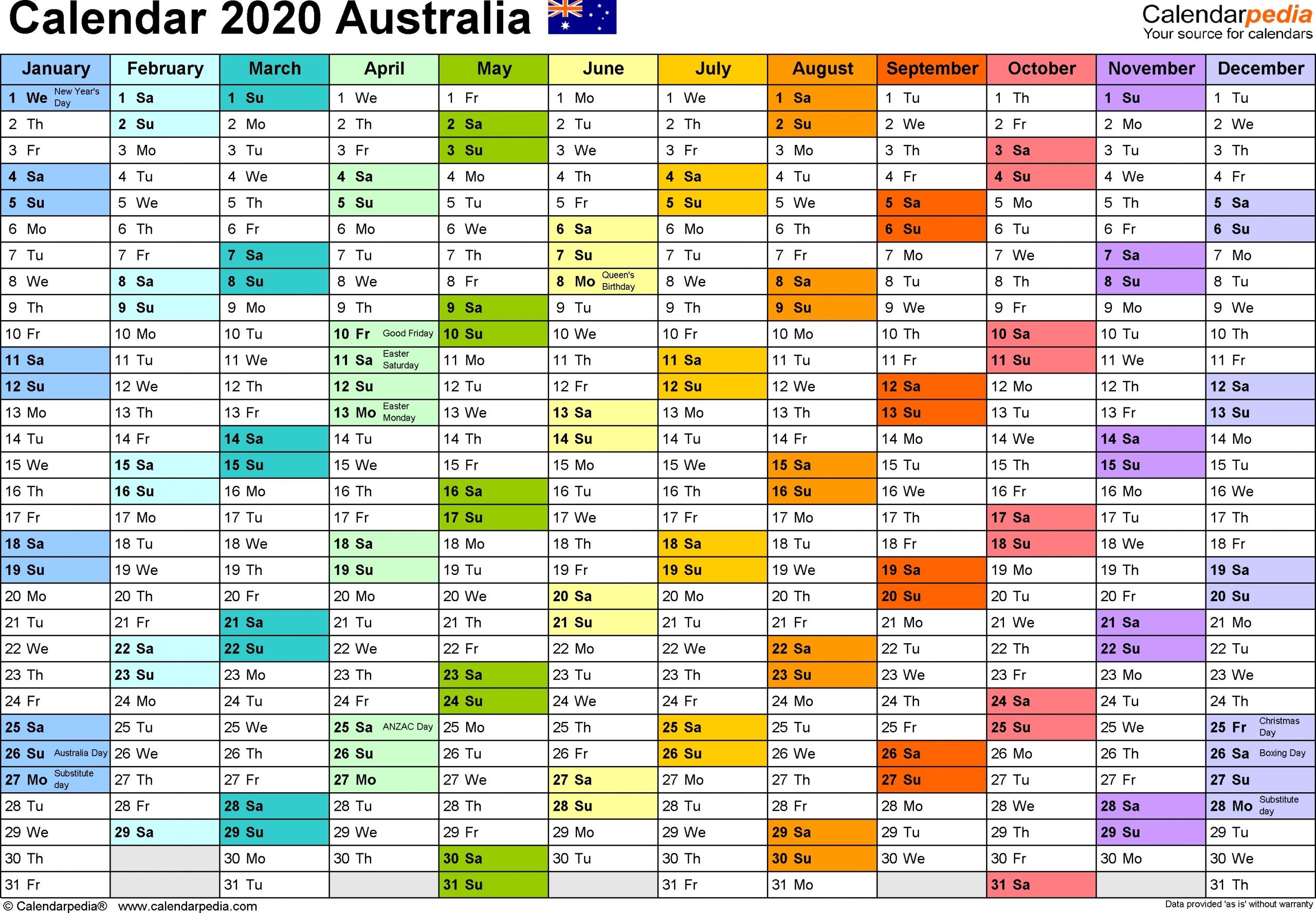 Financial Year Dates 2020 2020 Australia - Template Calendar Design