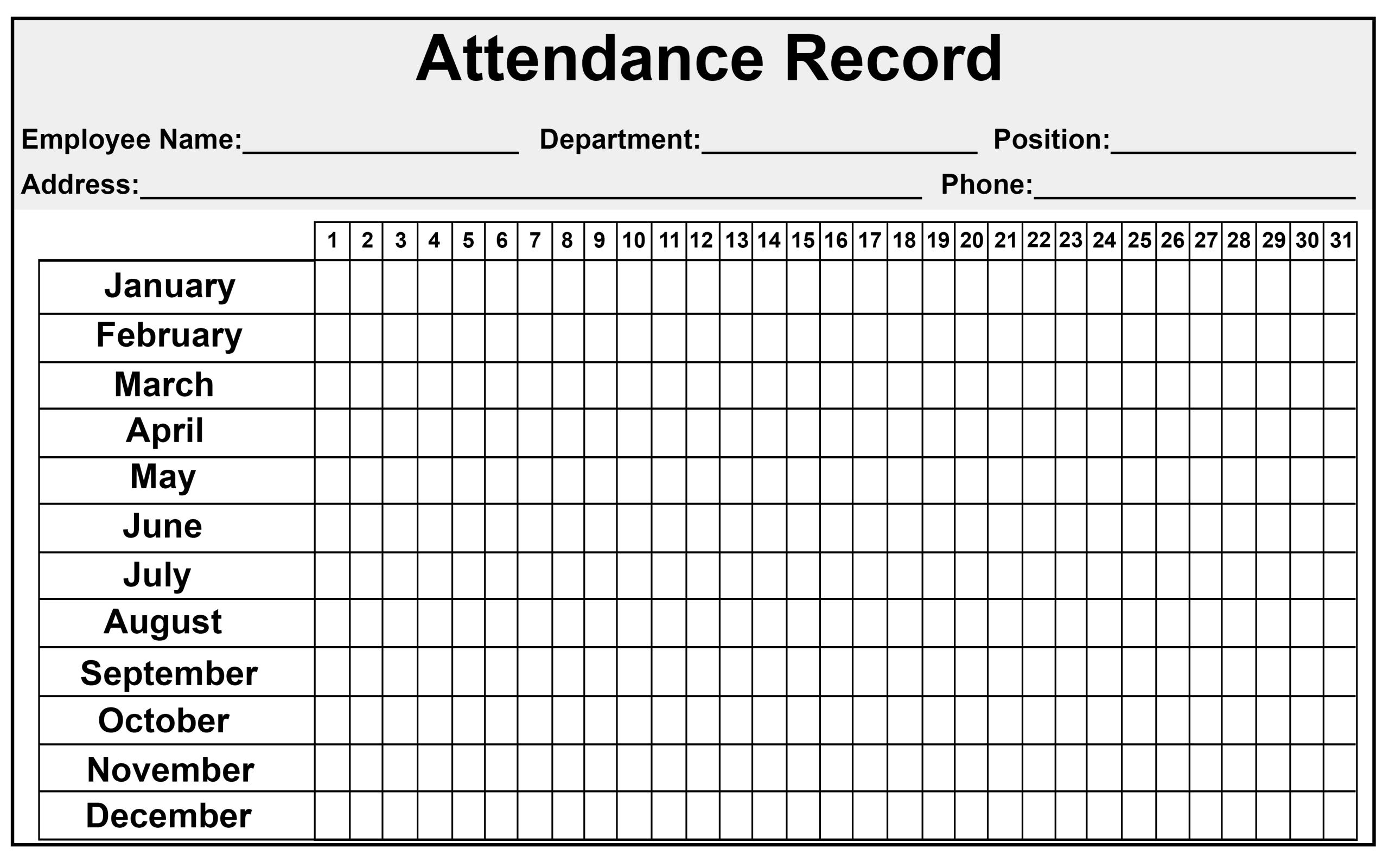 Free Attendance Sheet Pdf 2021 | Calendar Template Printable