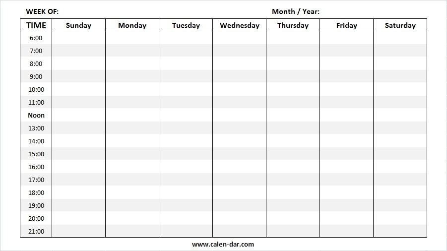Free Blank Weekly Calendar Templates | Printable Weekly Planner Template