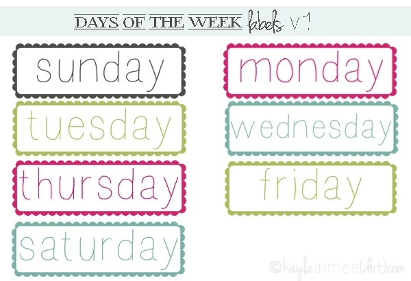 {Free} Days Of The Week Labels | School Fonts, School Printables
