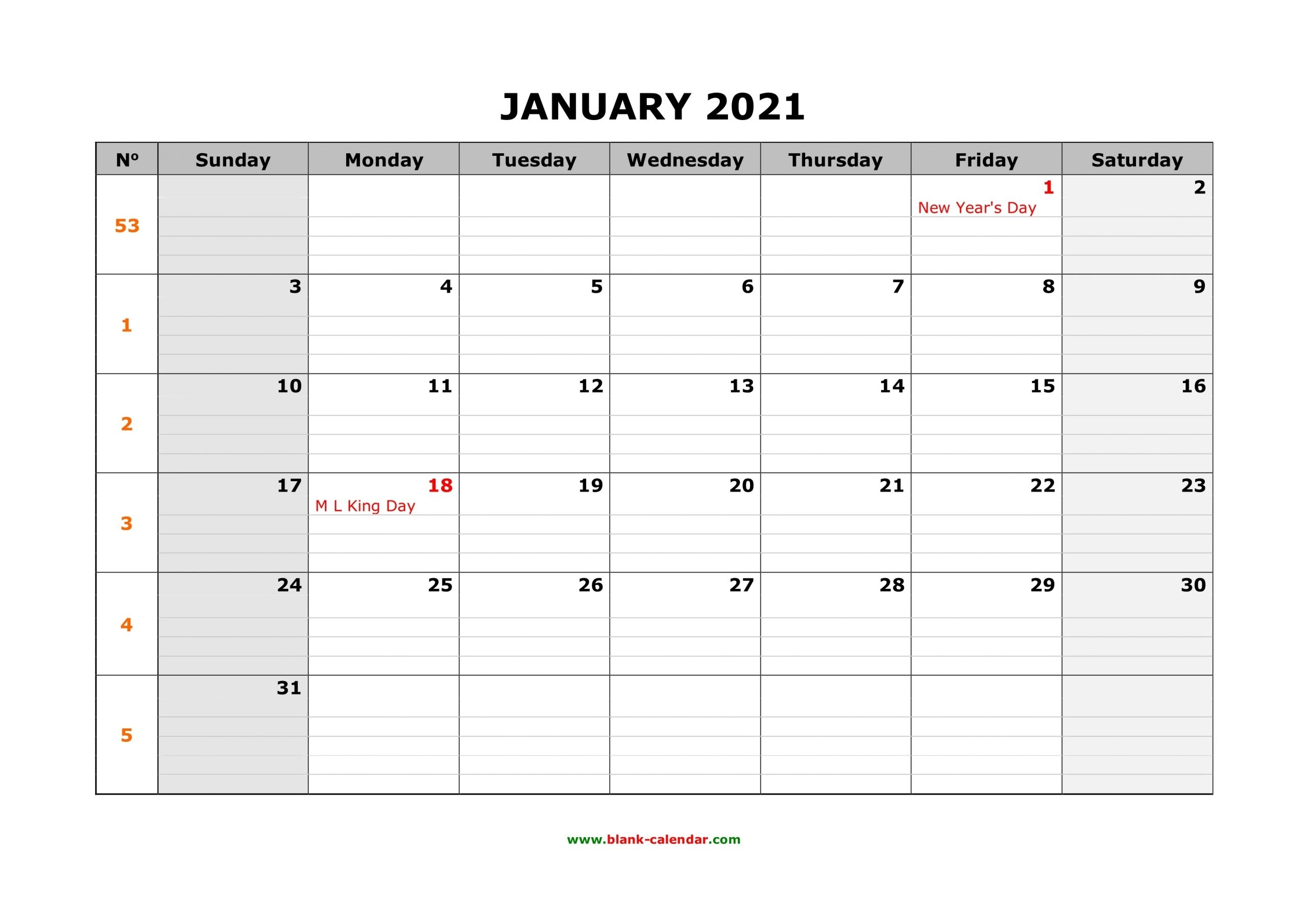 Free Download Printable Calendar 2021 Large Box Grid - Calendar Template 2020