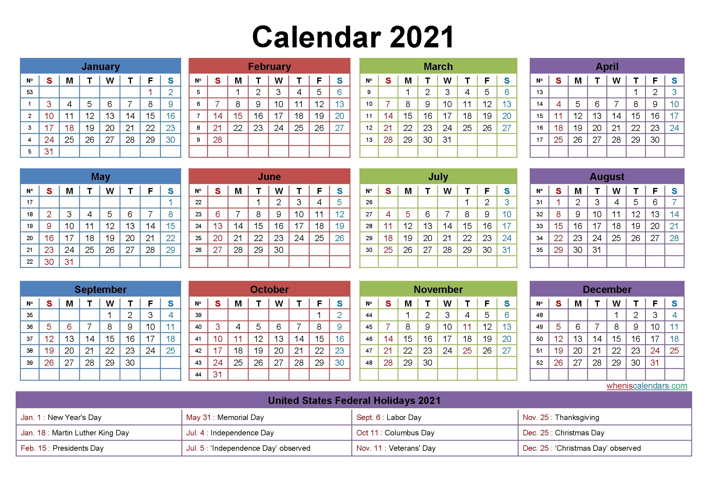 Free Editable Weekly 2021 Calendar - Free Printable 2021 Calendar: Includes Editable Version
