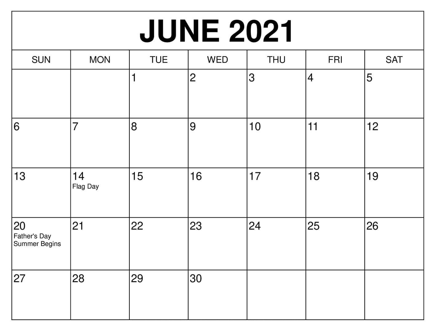 Free June 2021 Calendar With Holidays - Thecalendarpedia