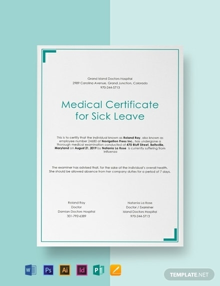 Free Medical Certificate For Sick Leave Template - Word (Doc) | Psd | Indesign | Apple (Mac