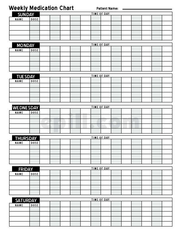 Free Medication Schedule E-Pill Medication Chart (With Images)   Medication Chart, Medication