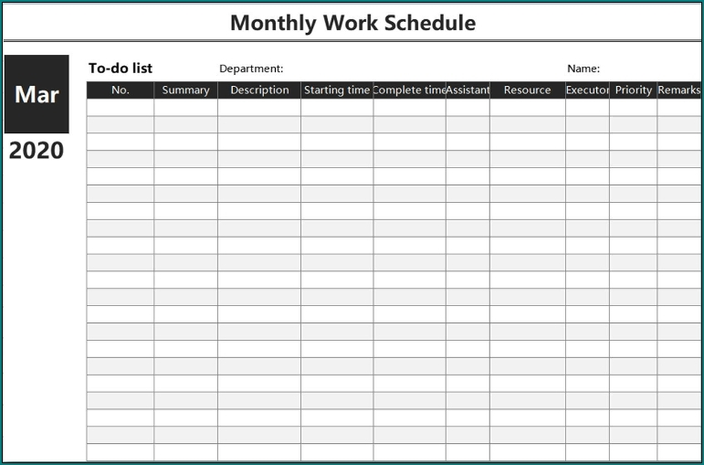 Free Monthly Shift Schedule Image | Calendar Template 2020