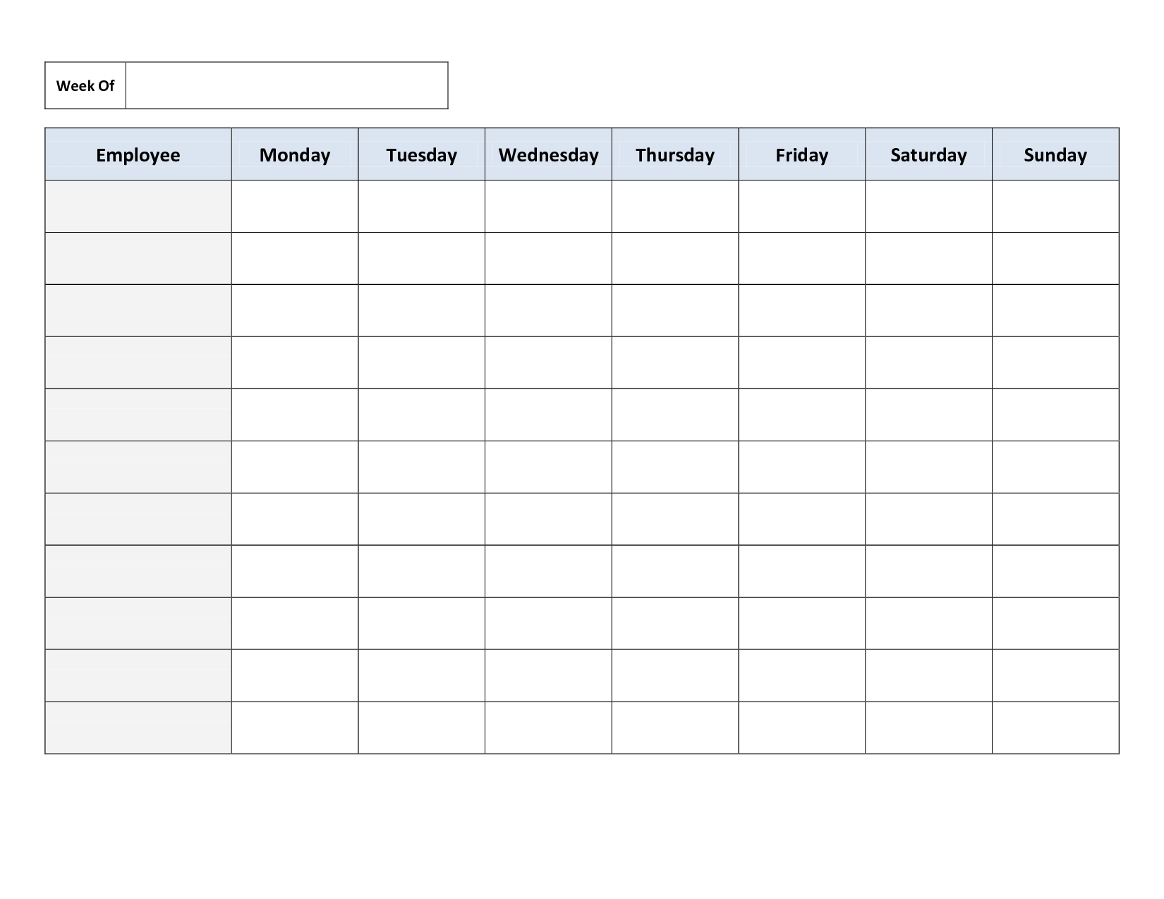 Free Monthly Work Schedule Template | Weekly Employee 8 Hour Shift - Free Printable Blank Work