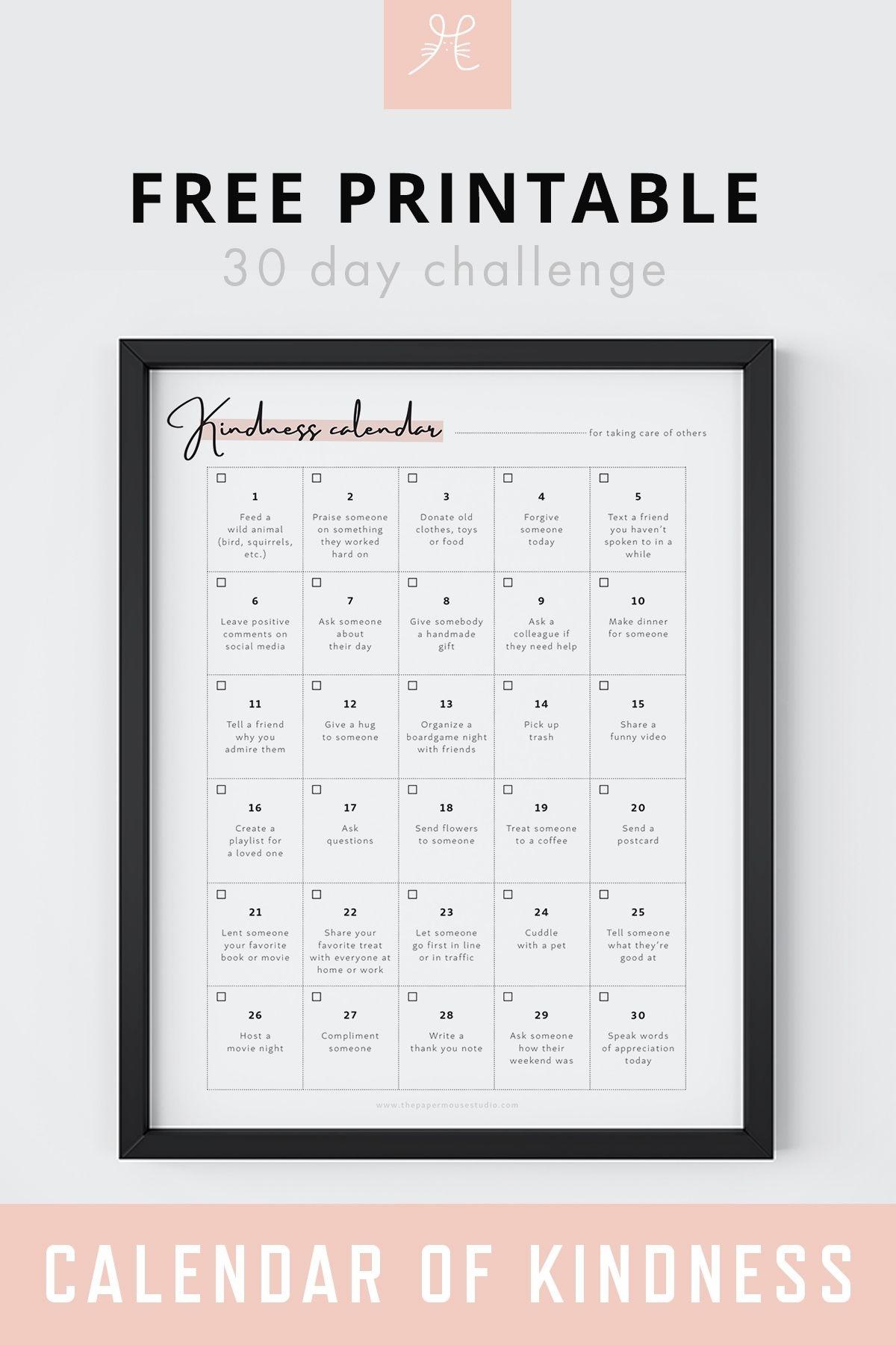 Free Printable 30 Day Challenge Calendar Of Kindness | Selflove Printable Calendar | #