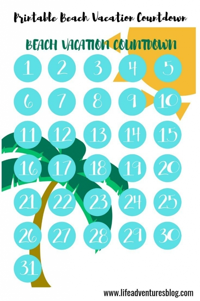 Free Printable Vacation Countdown Calendar - Calendar Template 2020