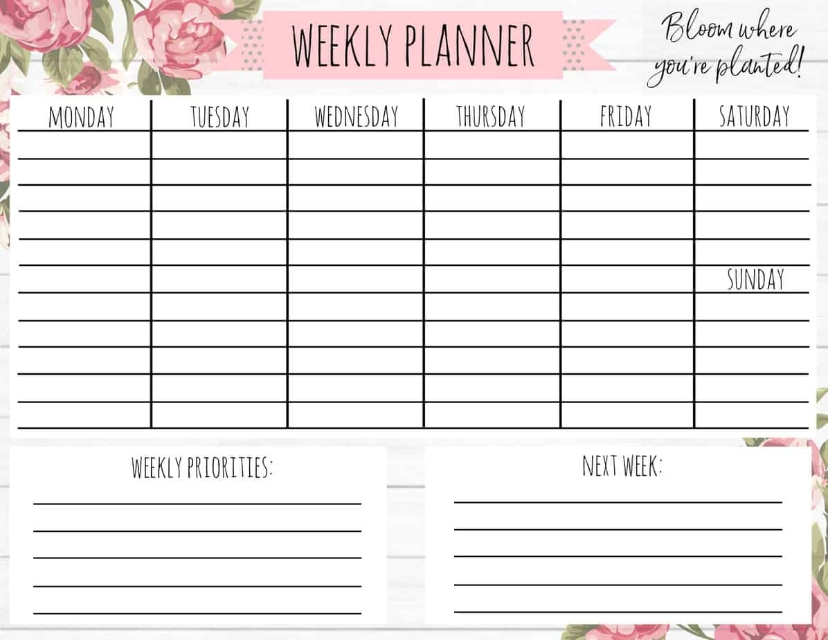 """Free Printable Weekly Calendar- """"Shiplap Floral"""" - A Country Girl'S Life"""
