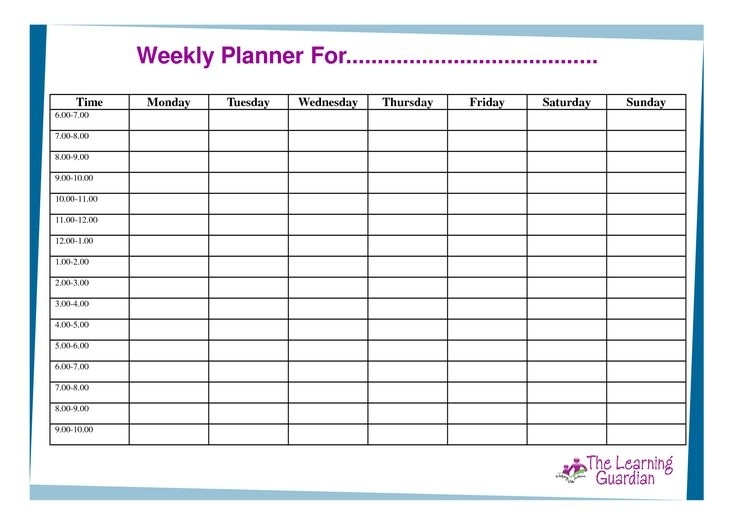 Free Printable Weekly Calendar Templates | Weekly Planner For Time Monday Tuesday Wednesday