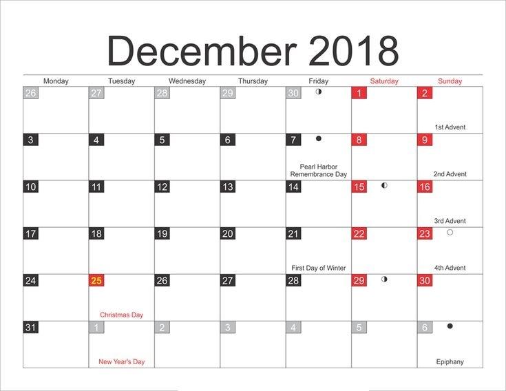 Full Moon December 2018 Calendar Moon Phases, New Moon Lunar Calendar | Moon Phase Calendar