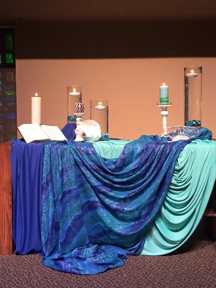 Grace Avenue Umc, Frisco, Tx, Baptism Of The Lord | Church Altar Decorations, Altar Decorations