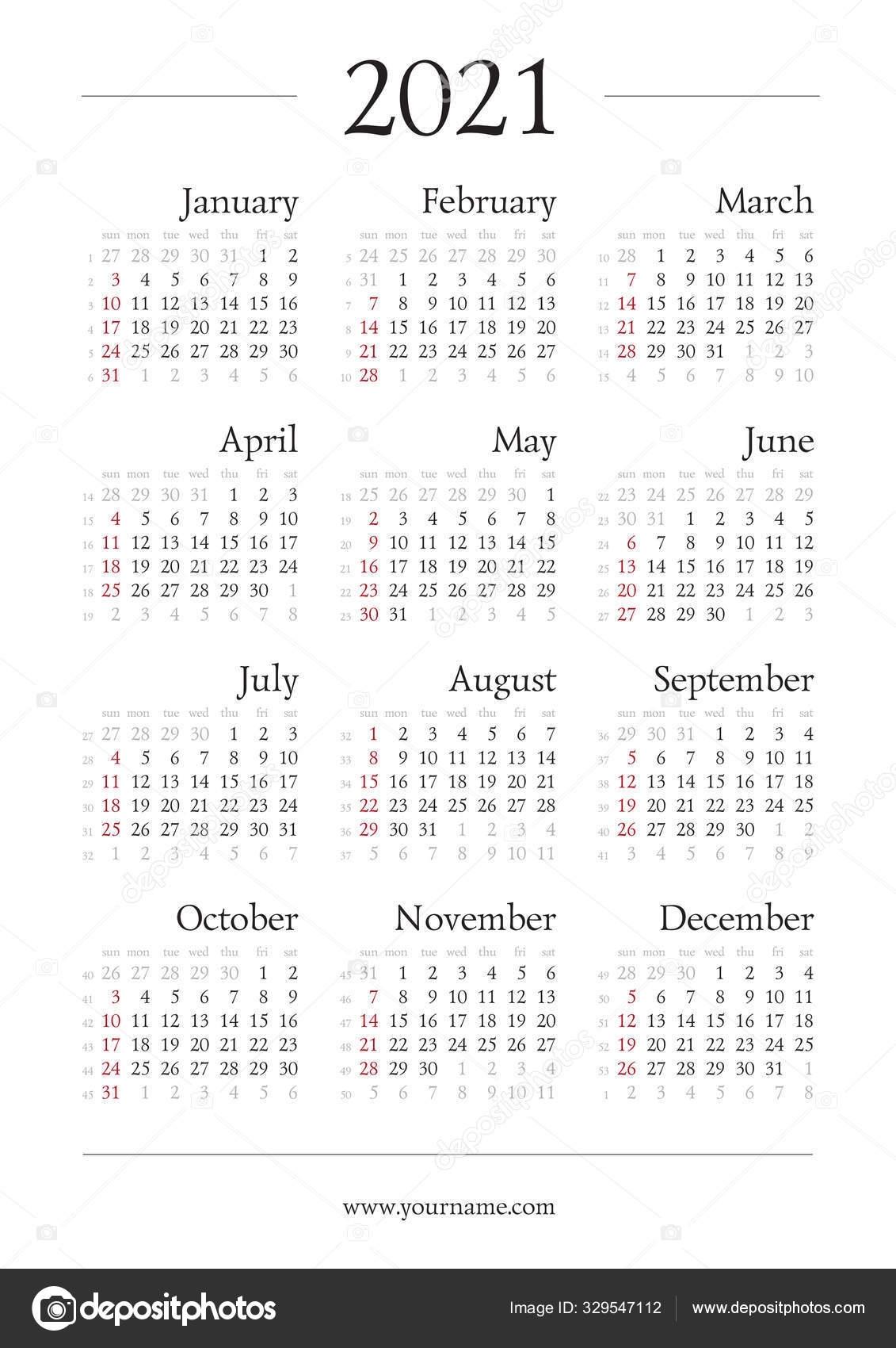 Gregorian Calendar 2021 With Week Numbers | Free Printable Calendar