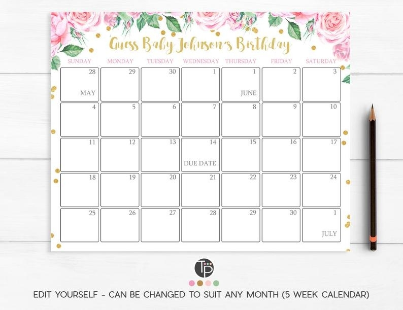 Guess Baby Due Date Guess Babys Due Date Calendar Girl Guess   Etsy