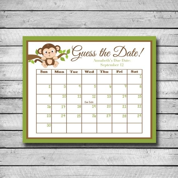 Guess The Date Monkey Baby Shower Game Due Date Calendar   Etsy