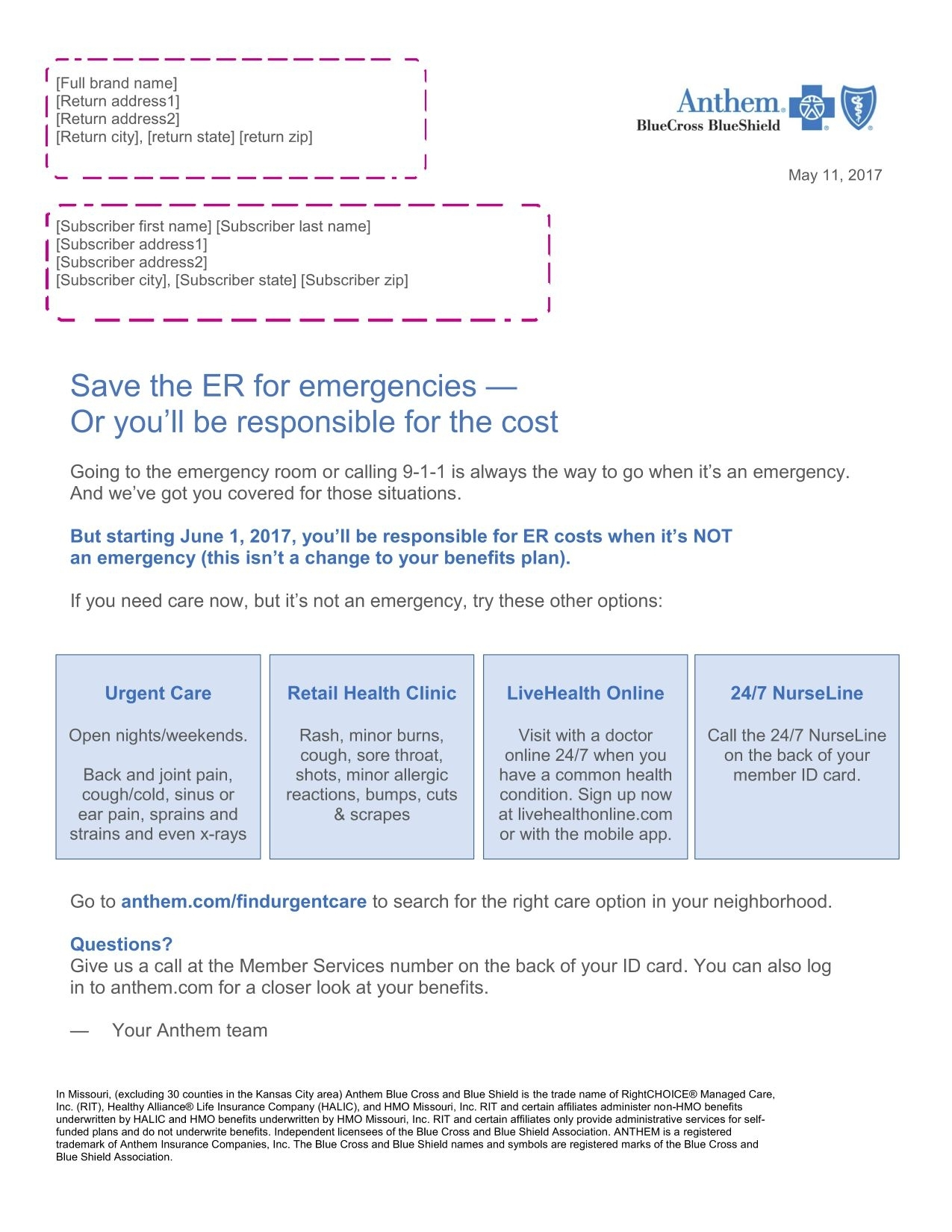 If You Have Anthem, You May Want To Think Twice About Going To The Er In Emergency