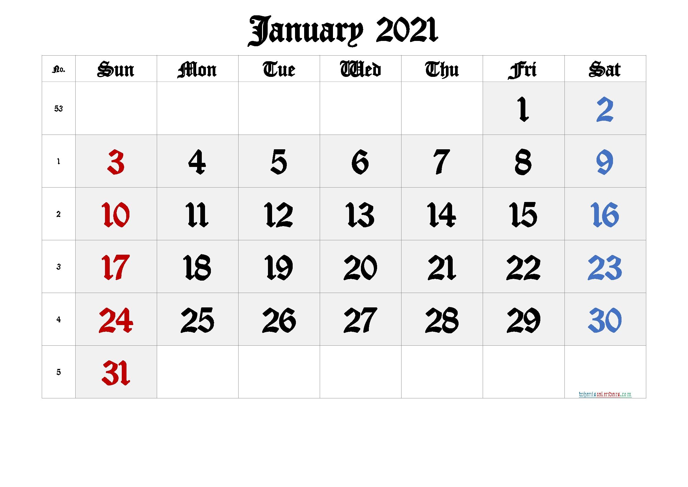 January 2021 Printable Calendar With Week Numbers [Free Premium]