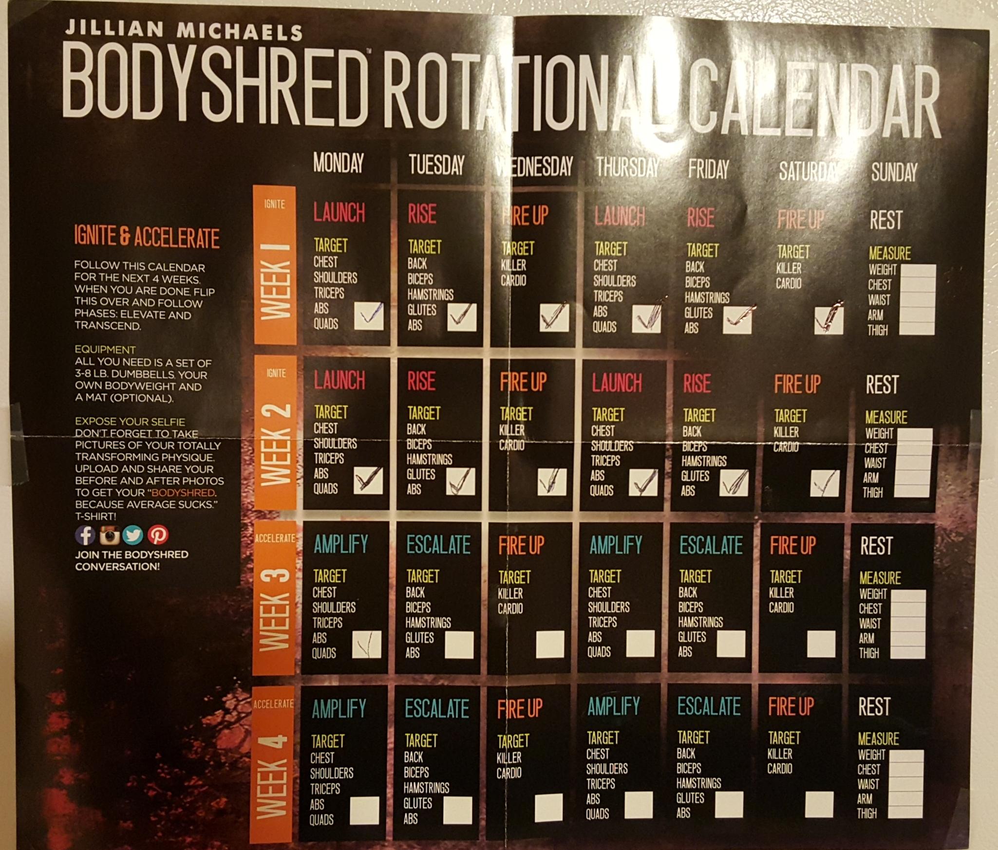 Jillian Michaels Body Shred Workout Schedule | Eoua Blog