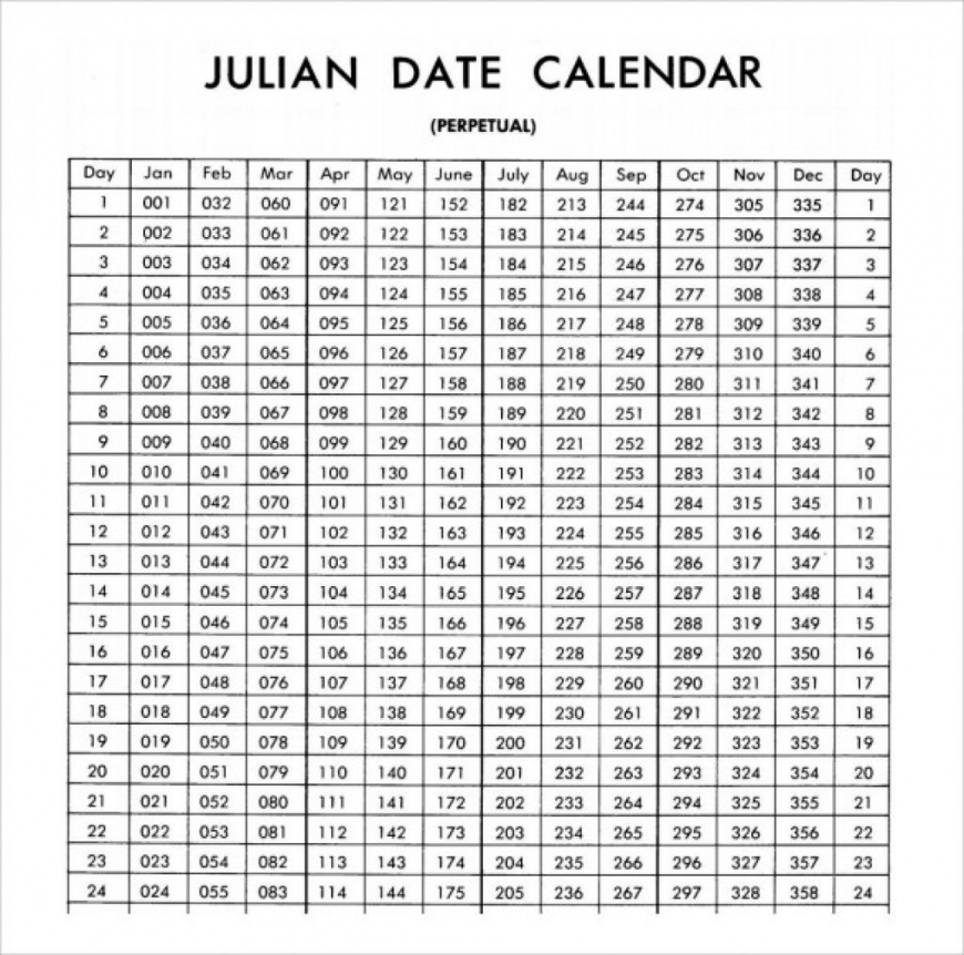 Julian Date Calendar 2020 Printable