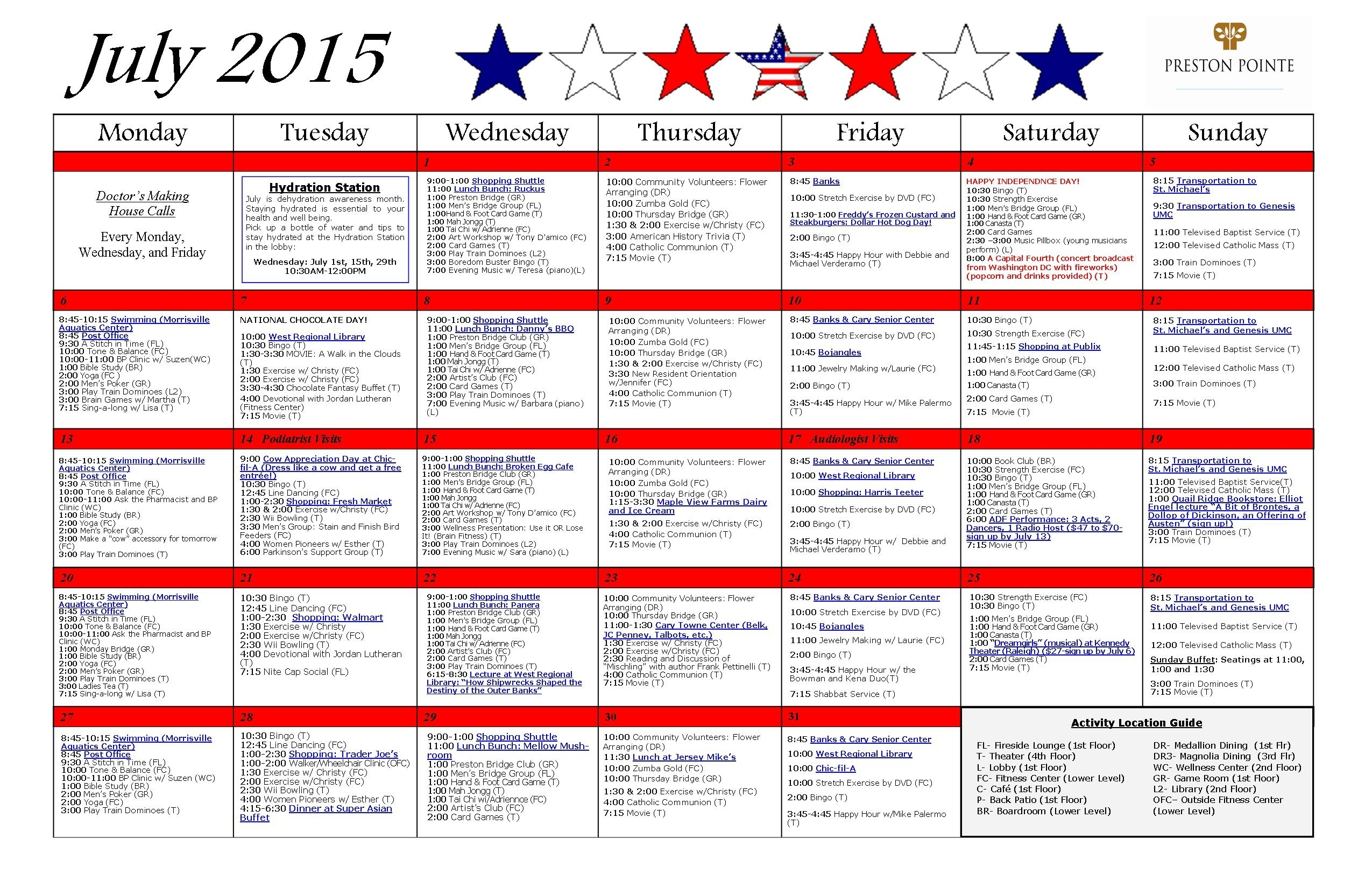 July 2015 Activity Calendar - Preston Pointe Retirement Community