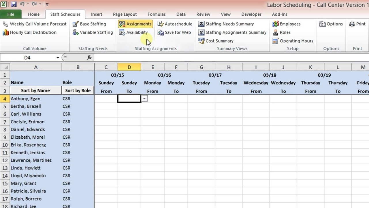 Labor Scheduling Template For Excel Call Center Version Overview - Youtube