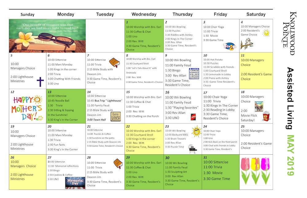 May 2019 Activities Calendar - Knollwood Pointe