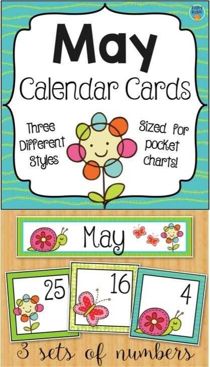 May Calendar Numbers - Monthly Calendar Cards Set   Calendar Numbers, Classroom Calendar