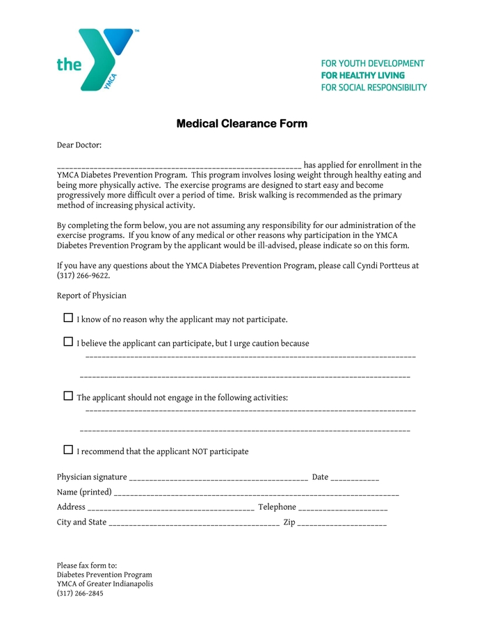 Medical Clearance Form In Word And Pdf Formats