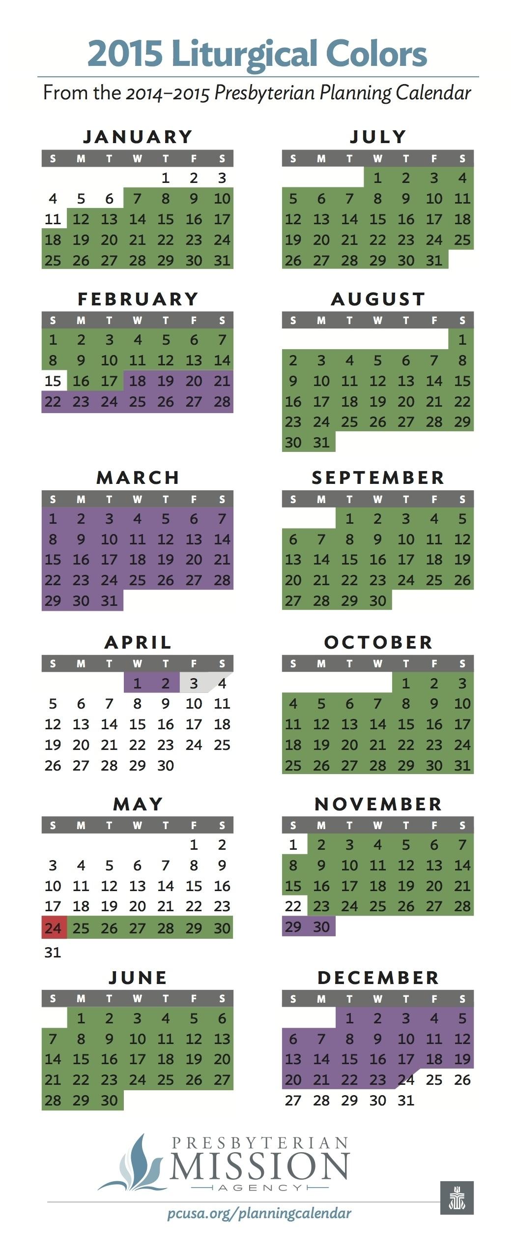 Methodist Parament Colors Calendar :-Free Calendar Template