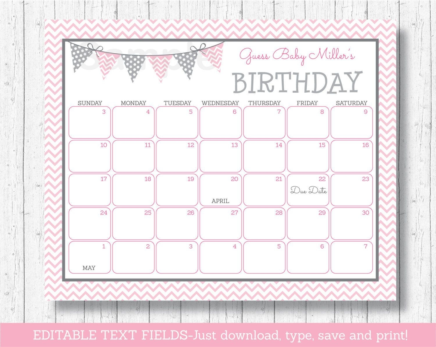 Modern Pink #Chevron #Printable Baby Due Date Calendar #Editable Pdf, View More On The Link