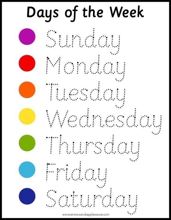 Montessori Days Of The Week Wheel & Tracing Worksheet, Homeschool Printable, Circle Time