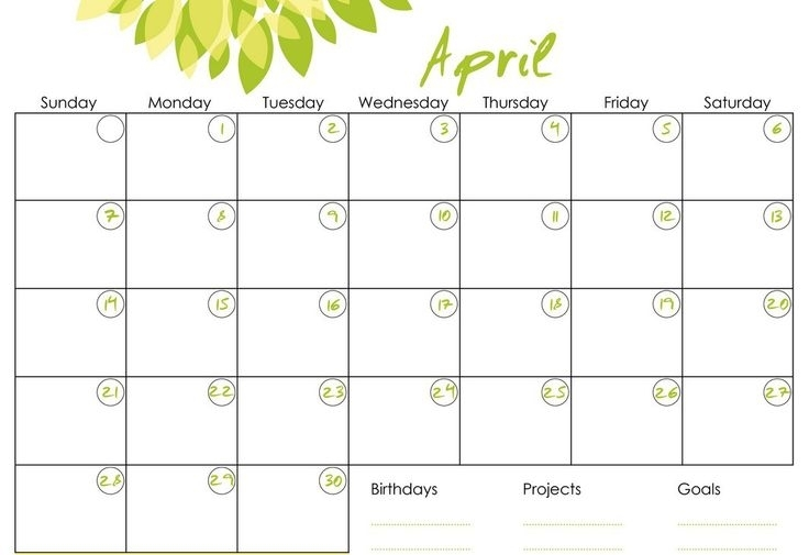 Monthly Calendars To Print And Fill Out 2016