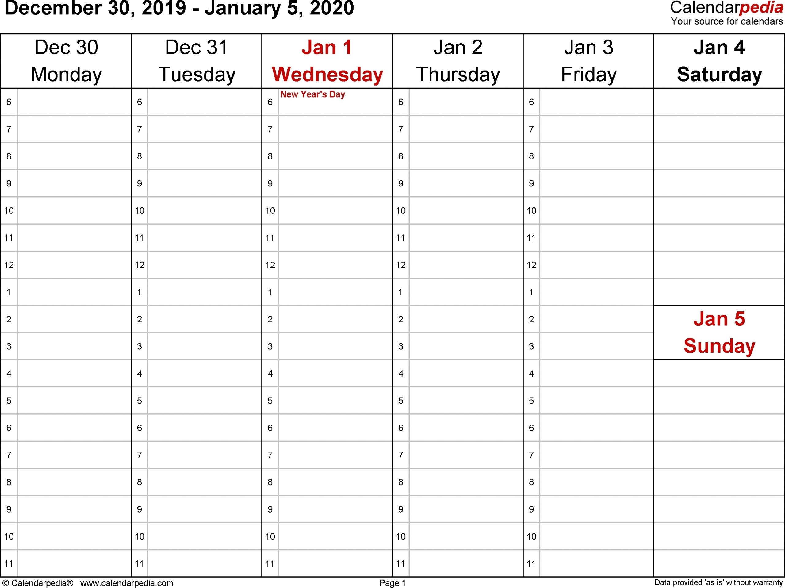 Monthlyo 5 Day Calendar | Printable Calendar Template 2021