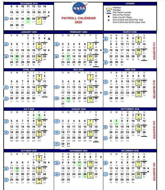 Nasa Pay Period Calendar 2020 | 2020 & 2021 Pay Periods Calendar