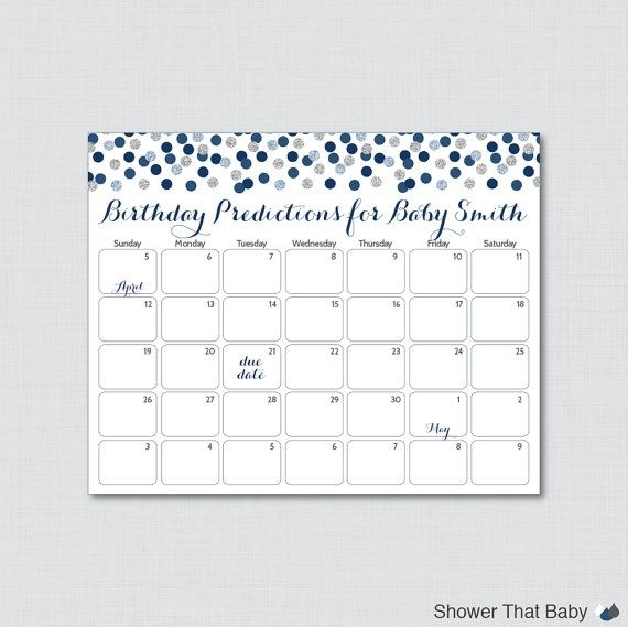 Navy And Gray Baby Shower Birthday Predictions - Printable Baby Shower Due Date Calendar