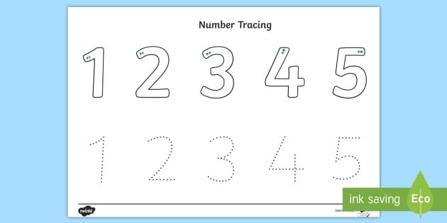 Number Tracing 1-5 Worksheet / Worksheet (Teacher Made)