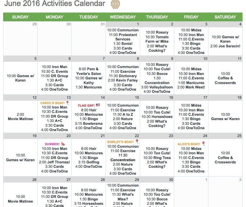 Nursing Home Activity Calendar Template   Williamson-Ga