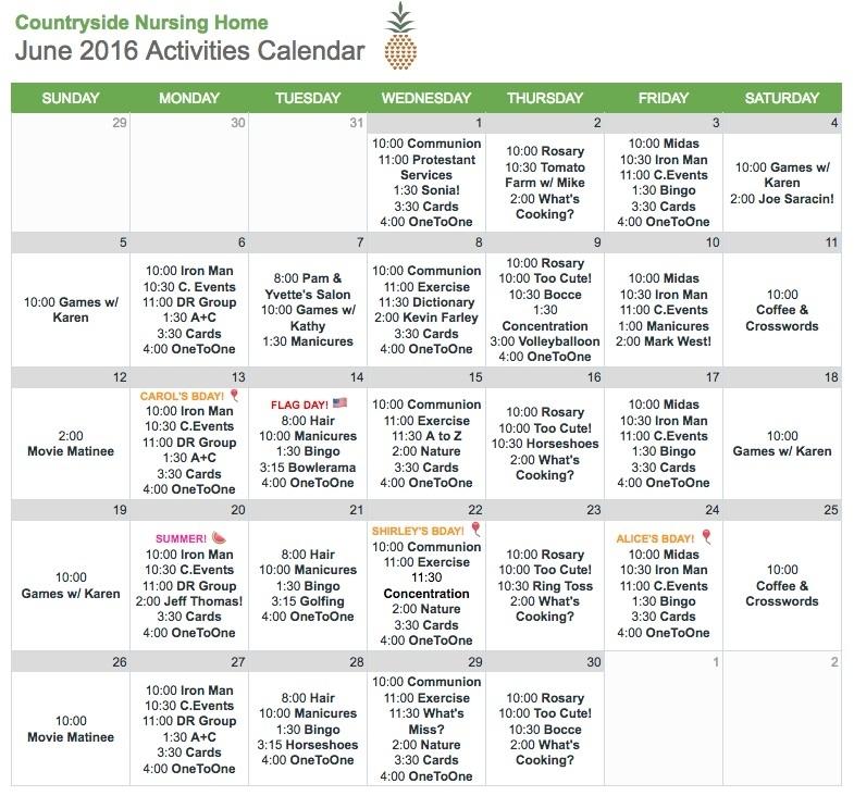 Nursing Home Activity Calendar Template | Williamson-Ga