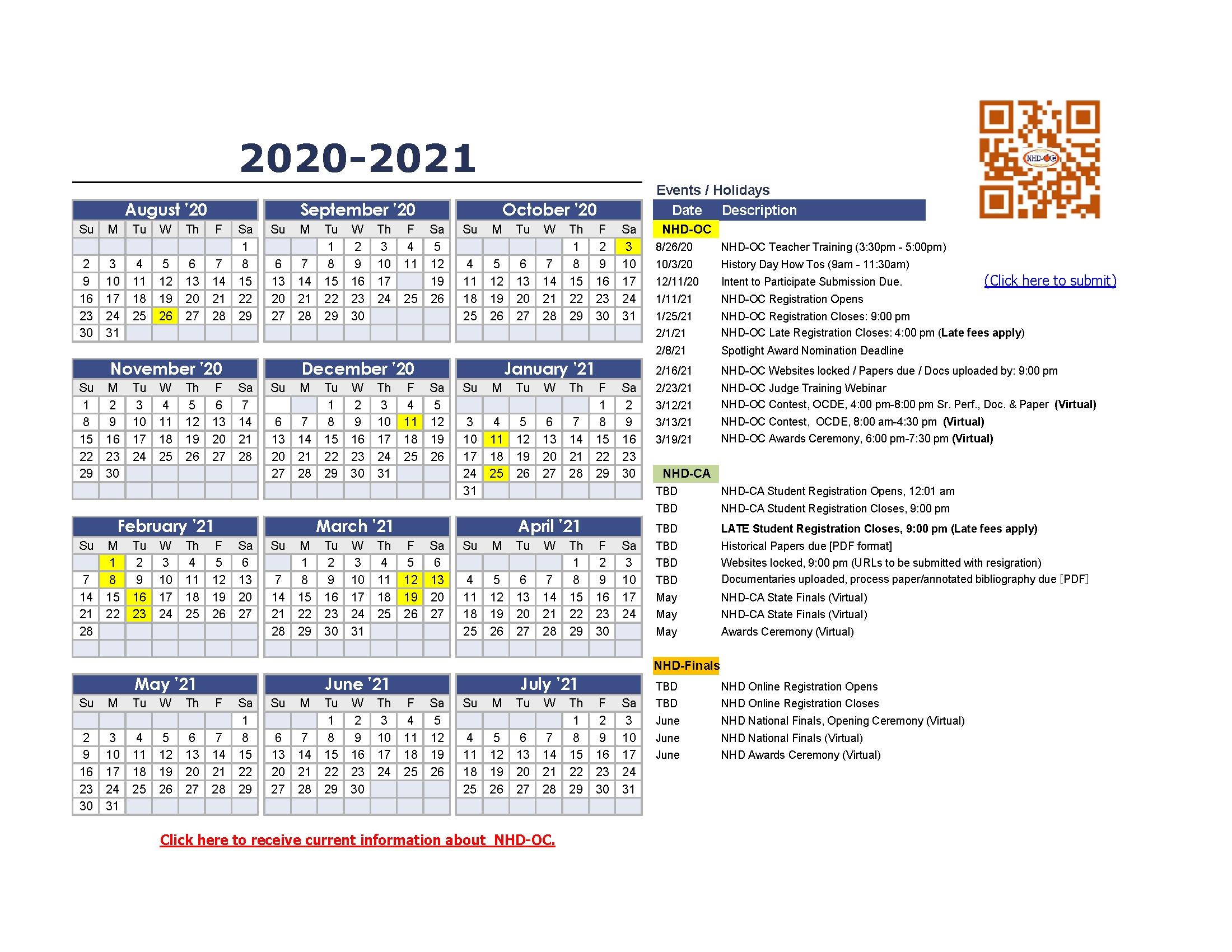 Oc Events Calendar 2021   Calendar 2021