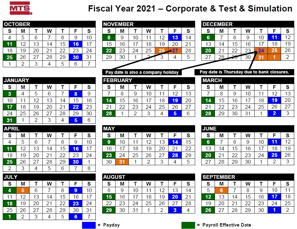 Paid Time Off, Holidays And Fiscal Calendars - Mts App