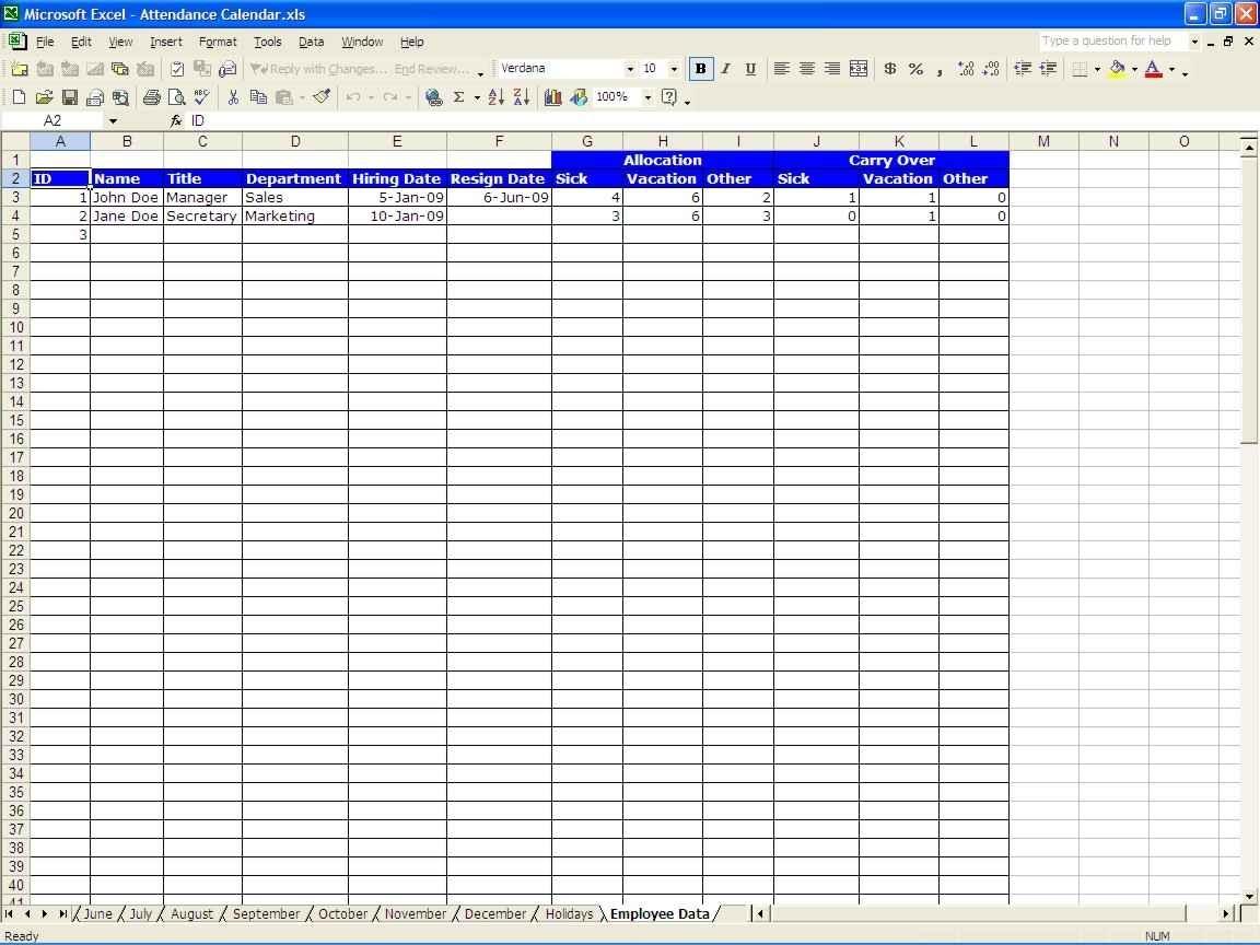 Paid Time Off Spreadsheet Regarding Employee Paid Time Off Tracking Spreadsheet And Time Off
