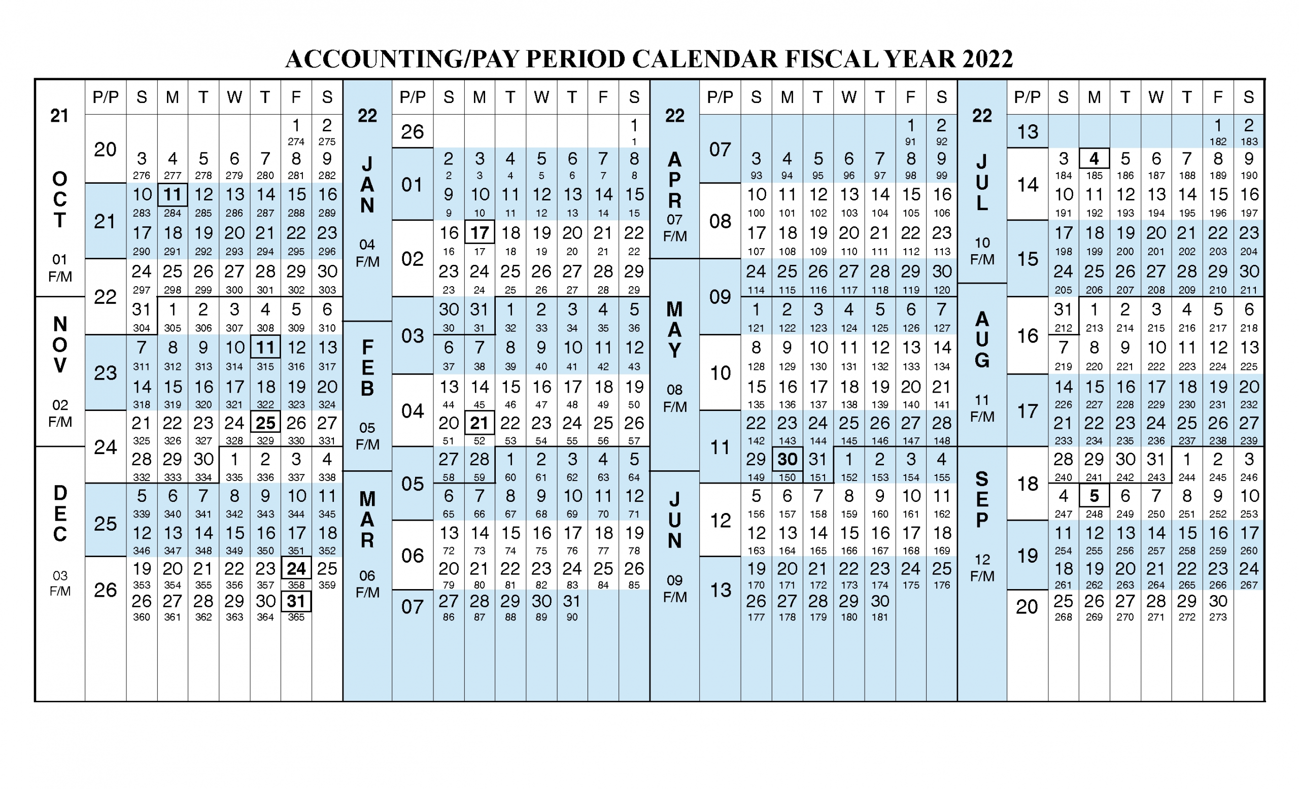 Payroll Calendar 2022 Fiscal Year Calendar [ Oct 2021 - Sep 2022 ] | Free Printable 2020