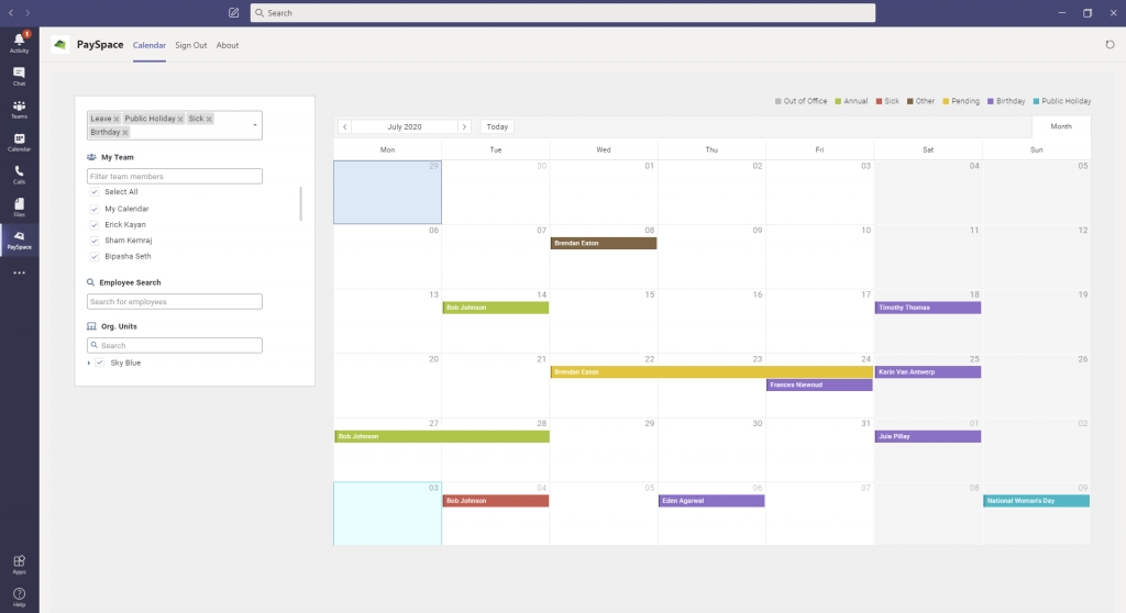 Payspace Leave Calendar On Microsoft Teams