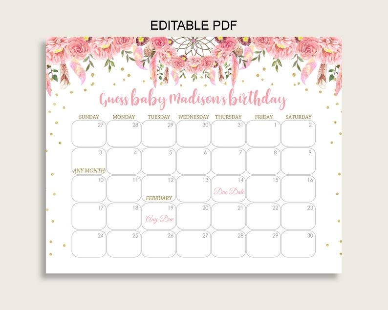 Pink Gold Guess Baby Due Date Calendar Game Printable   Etsy